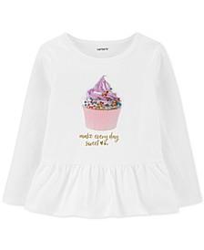 Toddler Girls Cotton Cupcake Peplum Top