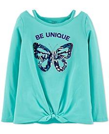 Little & Big Girls Cotton Tie-Front Butterfly T-Shirt