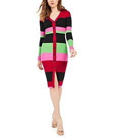 Juniors' Metallic-Stripe Cardigan Dress