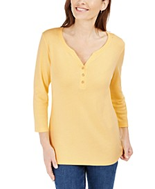 3/4-Sleeve Henley Shirt, Created for Macy's, Regular & Petite