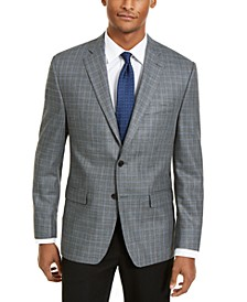 Men's Classic-Fit Ultraflex Stretch Gray/Blue Houndstooth Check Silk & Wool Sport Coat