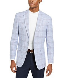 Men's Modern-Fit Blue/Pink Plaid Sport Coat