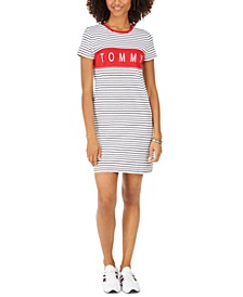 Striped Logo-Print T-Shirt Dress