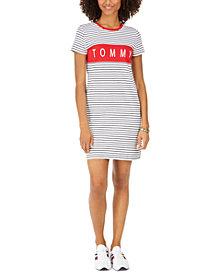 Tommy Hilfiger Striped Logo-Print T-Shirt Dress
