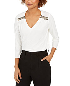 NY Collection Petite Beaded-Trim Top
