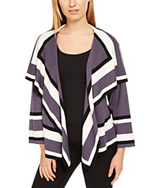 Colorblocked Open-Front Cardigan Sweater