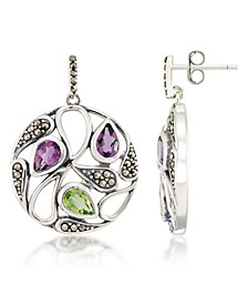 Marcasite and Amethyst(1 ct. t.w.)  and Peridot ( 2 ct. t.w.) Paisley Round Post Earrings in Sterling Silver