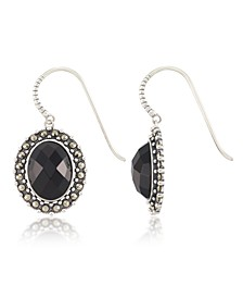 Marcasite and Faceted Onyx Oval Wire Earrings in Sterling Silver