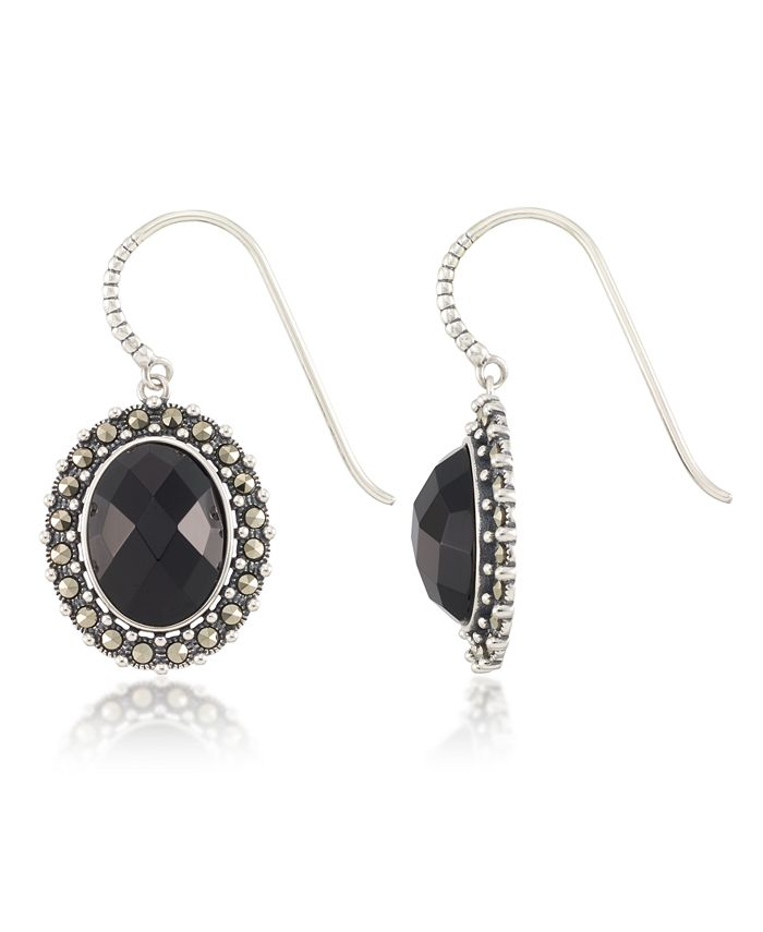 Macy's - Marcasite and Faceted Onyx Oval Wire Earrings in Sterling Silver
