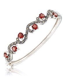 Marcasite and Garnet (5 ct. t.w.)  Bangle in Sterling Silver