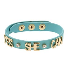YES SHE CAN Leather-Look Snap Bracelet