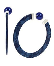 "Large Lightning Bolt Bead Front Back Abstract Hoop Earrings 2-3/4"""