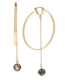 """Extra Large Pearl Chain Gold Hoop Earrings 3-1/2"""""""