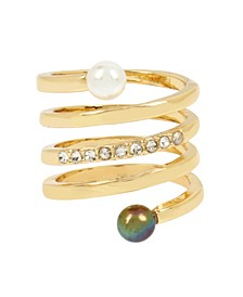 Mixed Pearl Coil Ring