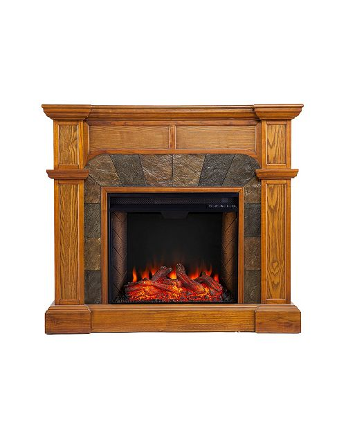 Southern Enterprises New Haven Corner Convertible Alexa-Enabled Fireplace with Polyresin Surround
