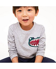 Toddler, Little and Big Boys Crocodile Print Pocket Cotton T-Shirt