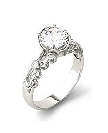 Moissanite Round Milgrain Ring 1-1/2 ct. t.w. Diamond Equivalent in 14k White Gold