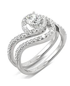 Moissanite Bypass Bridal Set 1-1/5 ct. t.w. Diamond Equivalent in 14k White Gold