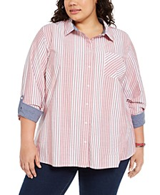 Plus Size Striped Cotton Shirt