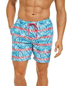 """Men's Leaf Print 7"""" Swim Trunks, Created for Macy's"""
