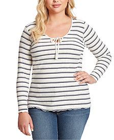 Jessica Simpson Trendy Plus Size Esme Ribbed Striped Top