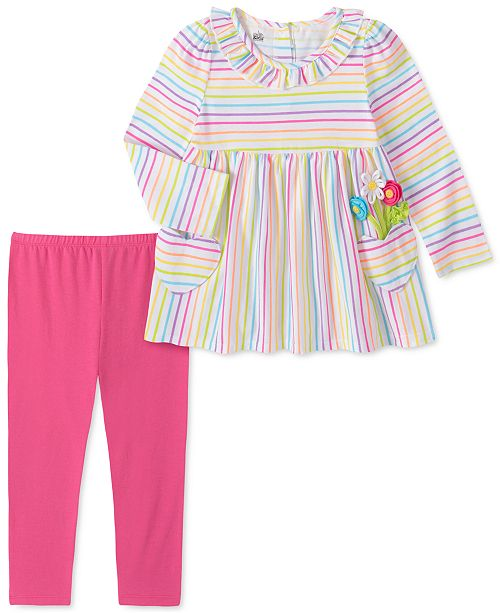 Kids Headquarters Toddler Girls 2-Pc. Multicolored Stripe Tunic & Leggings Set
