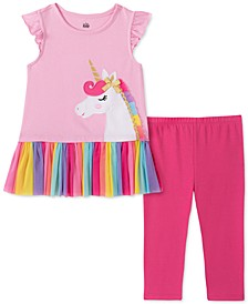 Little Girls 2-Pc. Unicorn Tunic & Leggings Set