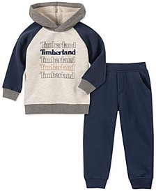 Little Boys 2-Pc. Colorblocked Fleece Logo Hoodie & Sweatpants Set