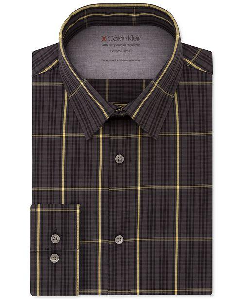 Calvin Klein Men's Extreme Slim-Fit Temperature Regulation Check Dress Shirt