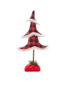 22-Inch Plaid Christmas Tree Table Piece