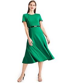 Belted A line Midi Dress