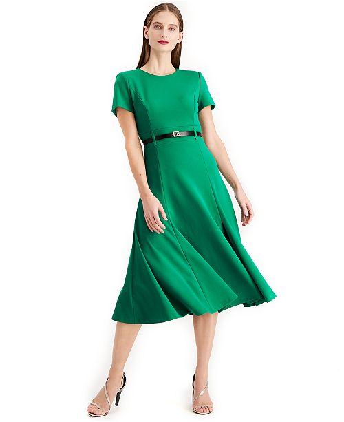 Calvin Klein Belted A line Midi Dress
