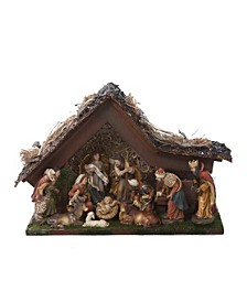 9.5-Inch Musical LED Nativity Set with Figures and Stable