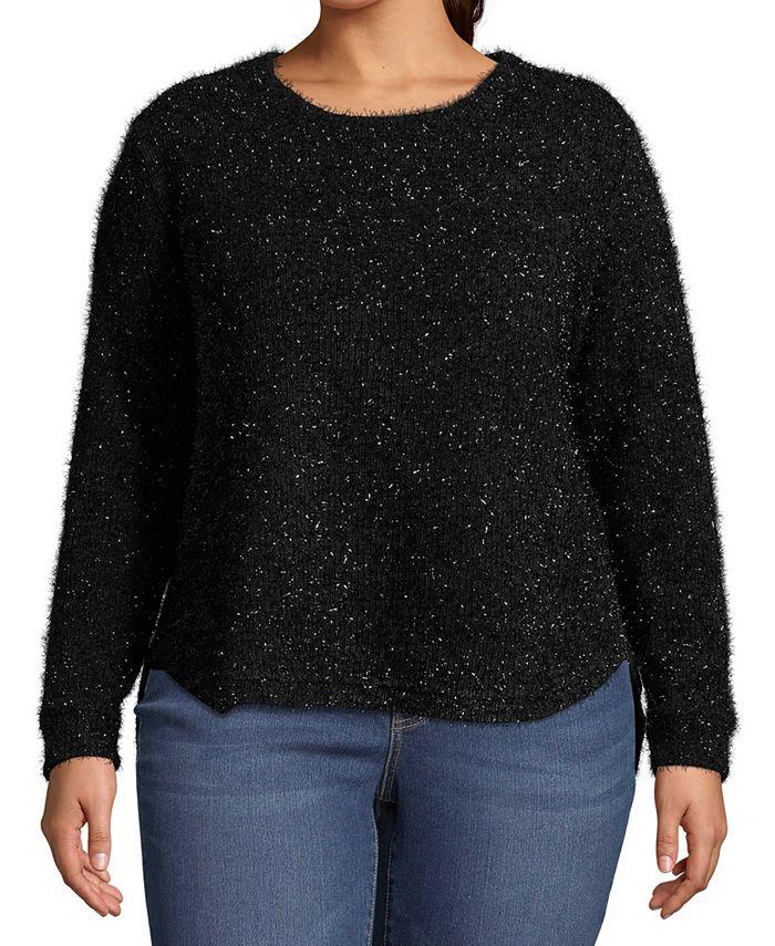 John Paul Richard - Plus Size Metallic Pullover Sweater