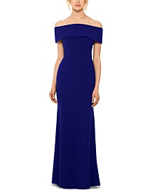 Off-The-Shoulder Bow-Back Gown