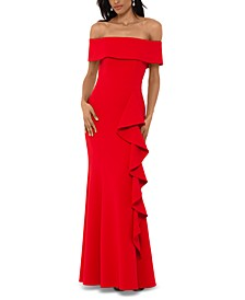 Petite Off-The-Shoulder Cascade Gown