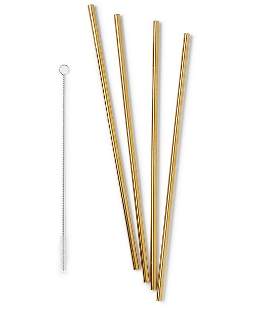 """W&P Design 10"""" Metal Straws, Set of 4 with Cleaner"""