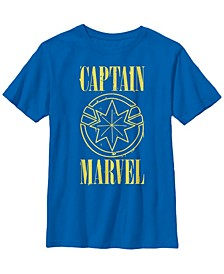 Marvel Big Boys Captain Marvel Big Boys Yellow Paint Drip Logo Short Sleeve T-Shirt