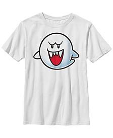 Nintendo Big Boy's Super Mario Boo Face Short Sleeve T-Shirt