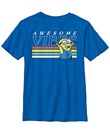 Despicable Me Big Boy's Minions Dave Awesome Vibes Short Sleeve T-Shirt