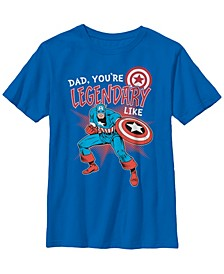 Marvel Big Boy's Captain Legendary Dad Father's Day Short Sleeve T-Shirt