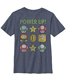 Nintendo Big Boy's Super Mario Power Up Items Vintage-Like Short Sleeve T-Shirt