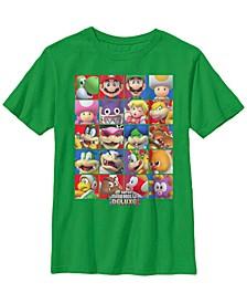 Nintendo Big Boy's Super Mario Bros U Deluxe Character Selection Panel Grid Short Sleeve T-Shirt