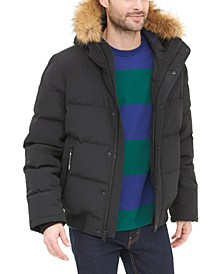 Men's Big & Tall Short Parka Jacket with Faux Fur Hood