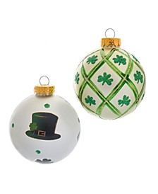 80MM Silver and Light Green St. Patrick Glass Ball Ornaments, 6 Piece Box