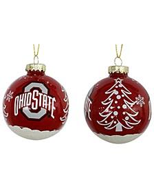 "Ohio State Buckeyes 3"" Glitter Holiday Ball"