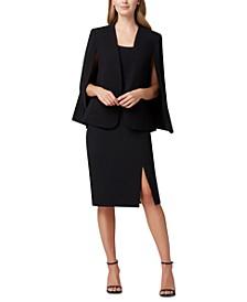 Crepe Cape Jacket & Front-Slit Crepe Pencil Skirt