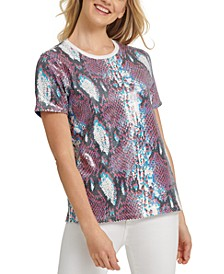 Snake-Print Sequined Top