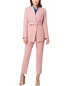 Petite Belted Jacket, Dot-Print Blouse & Twill Pants