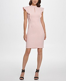 Ruffle Sleeve Mock Neck Sheath Dress